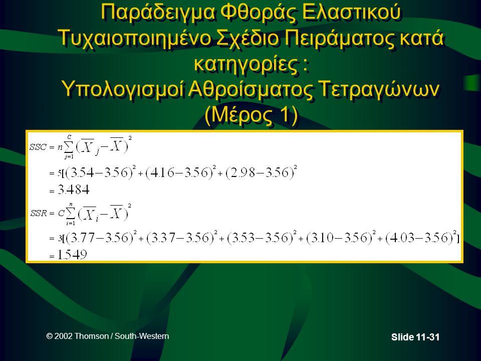 Παράδειγμα Φθοράς Ελαστικού Τυχαιοποιημένο Σχέδιο Πειράματος κατά κατηγορίες : Υπολογισμοί Αθροίσματος Τετραγώνων (Μέρος 1)