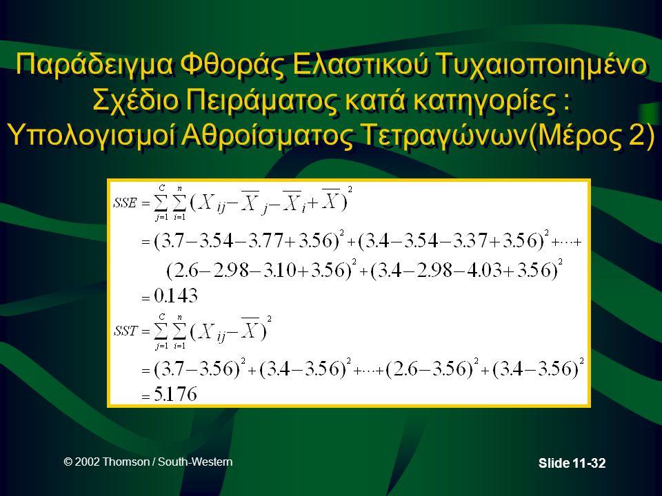 Παράδειγμα Φθοράς Ελαστικού Τυχαιοποιημένο Σχέδιο Πειράματος κατά κατηγορίες : Υπολογισμοί Αθροίσματος Τετραγώνων(Μέρος 2)