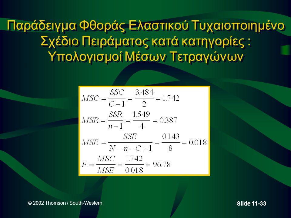 Παράδειγμα Φθοράς Ελαστικού Τυχαιοποιημένο Σχέδιο Πειράματος κατά κατηγορίες : Υπολογισμοί Μέσων Τετραγώνων
