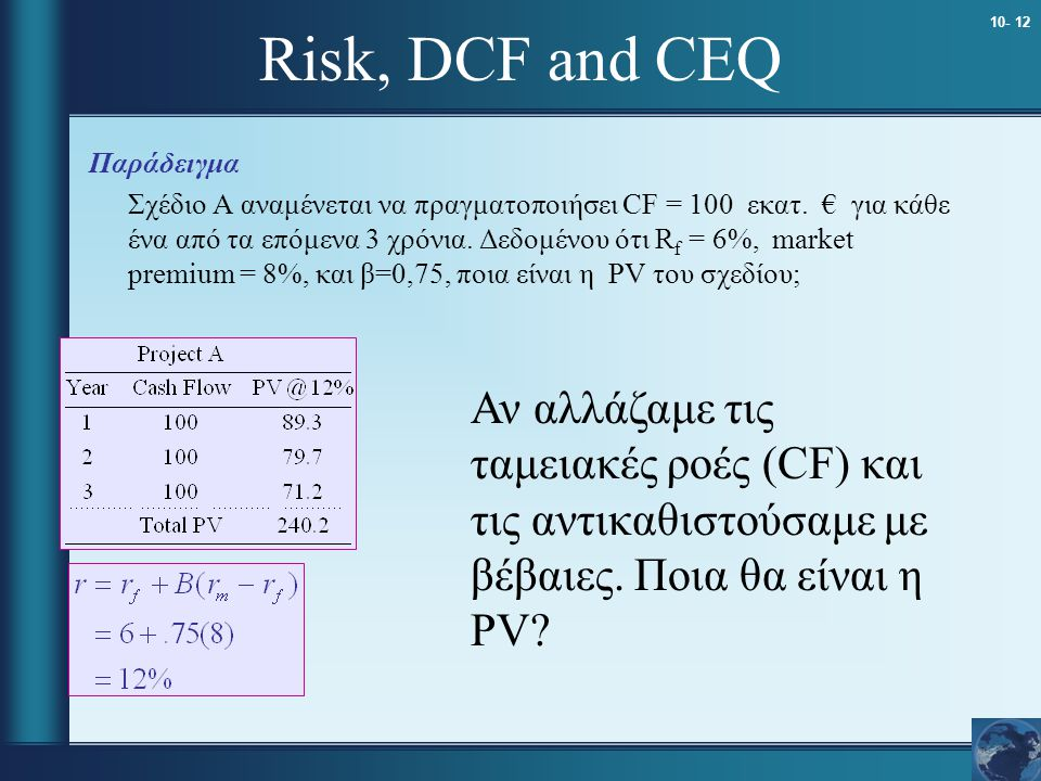 Risk, DCF and CEQ Παράδειγμα.