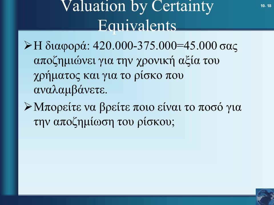 Valuation by Certainty Equivalents