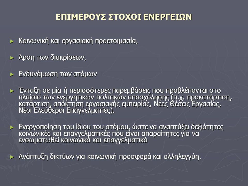 ΕΠΙΜΕΡΟΥΣ ΣΤΟΧΟΙ ΕΝΕΡΓΕΙΩΝ