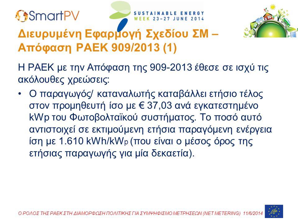 Διευρυμένη Εφαρμογή Σχεδίου ΣΜ – Απόφαση ΡΑΕΚ 909/2013 (1)