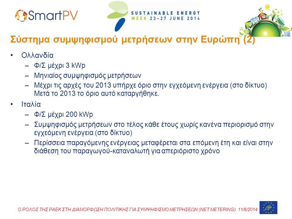 Σύστημα συμψηφισμού μετρήσεων στην Ευρώπη (2)
