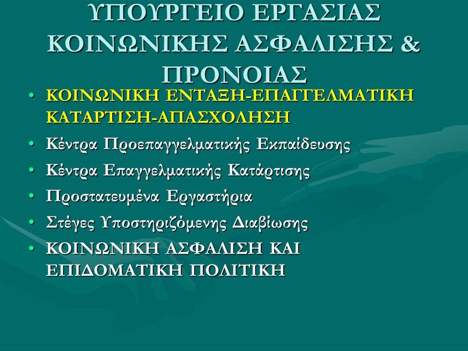 ΥΠΟΥΡΓΕΙΟ ΕΡΓΑΣΙΑΣ ΚΟΙΝΩΝΙΚΗΣ ΑΣΦΑΛΙΣΗΣ & ΠΡΟΝΟΙΑΣ