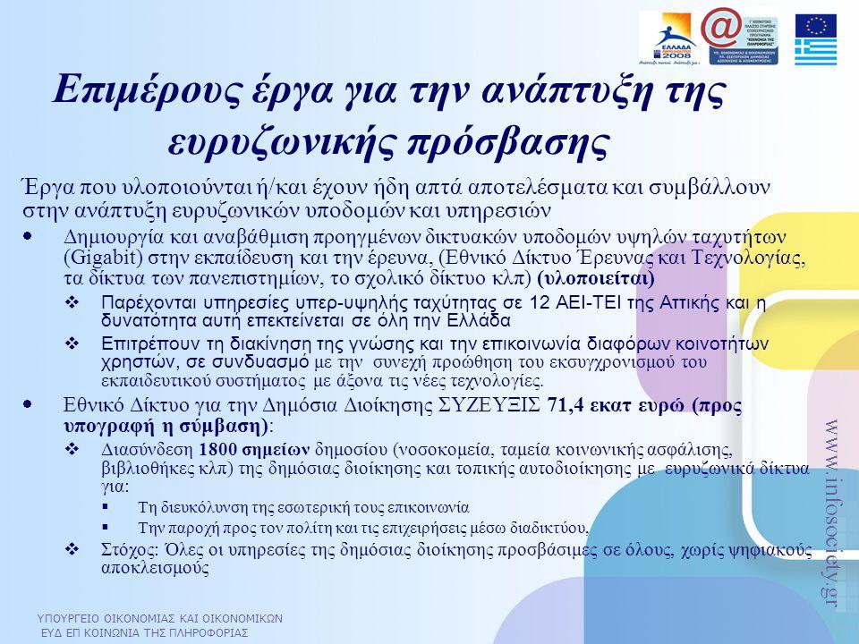 Επιμέρους έργα για την ανάπτυξη της ευρυζωνικής πρόσβασης