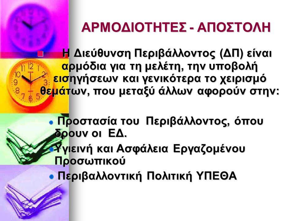ΑΡΜΟΔΙΟΤΗΤΕΣ - ΑΠΟΣΤΟΛΗ
