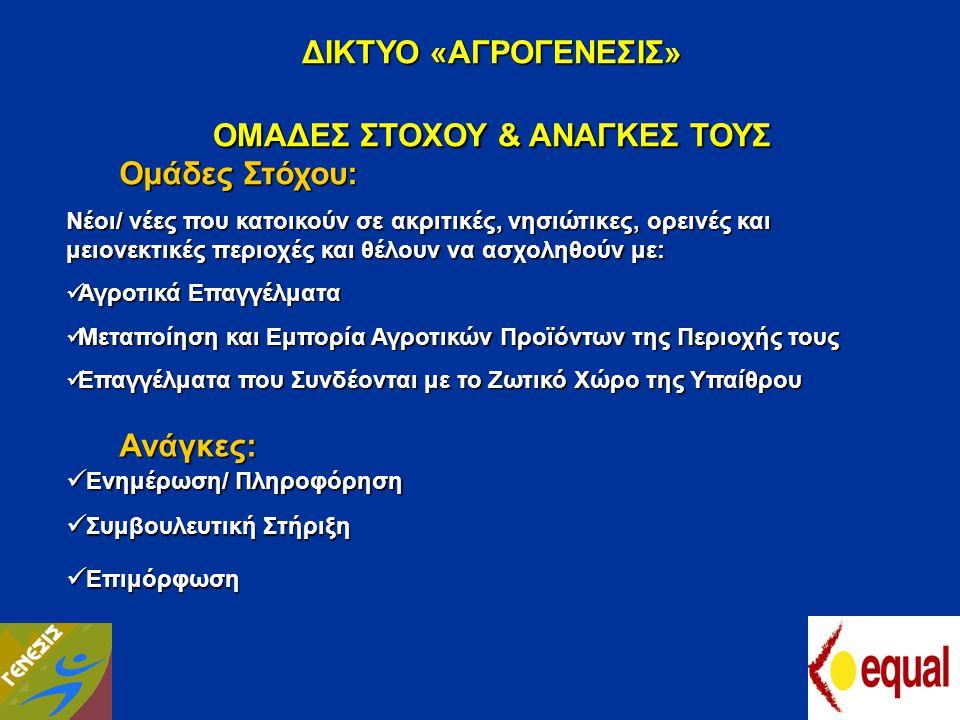 ΟΜΑΔΕΣ ΣΤΟΧΟΥ & ΑΝΑΓΚΕΣ ΤΟΥΣ