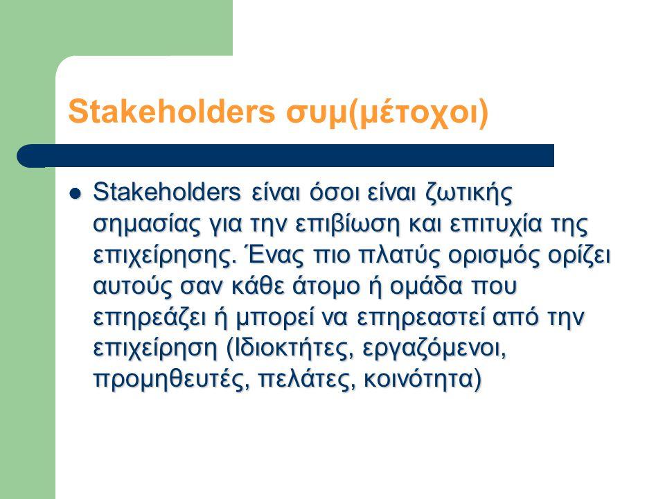 Stakeholders συμ(μέτοχοι)