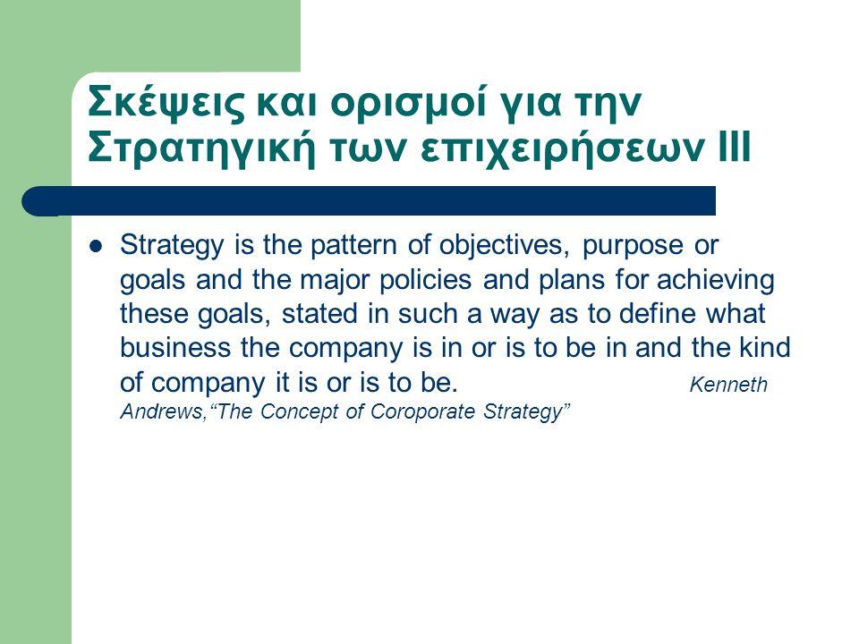 Σκέψεις και ορισμοί για την Στρατηγική των επιχειρήσεων IIΙ