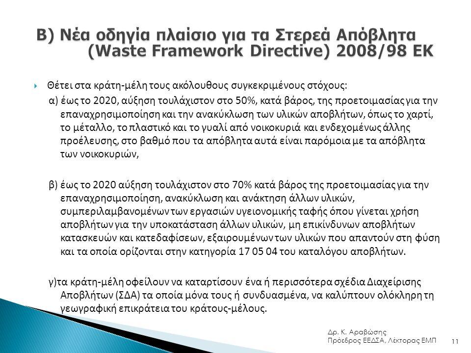Β) Νέα οδηγία πλαίσιο για τα Στερεά Απόβλητα (Waste Framework Directive) 2008/98 ΕΚ