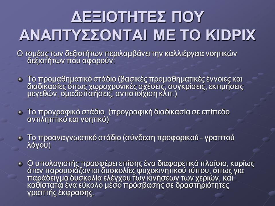 ΔΕΞΙΟΤΗΤΕΣ ΠΟΥ ΑΝΑΠΤΥΣΣΟΝΤΑΙ ΜΕ ΤΟ KIDPIX
