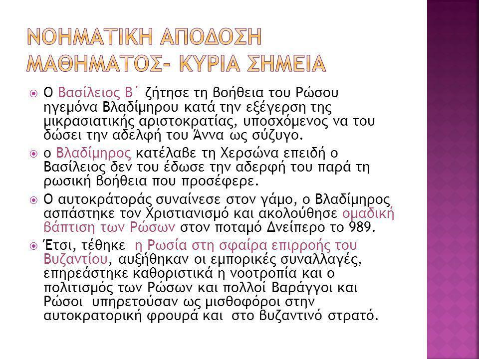 ΝΟΗΜΑΤΙΚΗ ΑΠΟΔΟΣΗ ΜΑΘΗΜΑΤΟΣ- ΚΥΡΙΑ ΣΗΜΕΙΑ