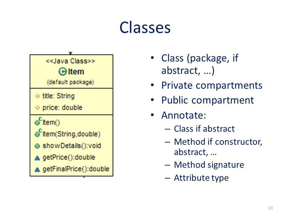 Classes Class (package, if abstract, …) Private compartments