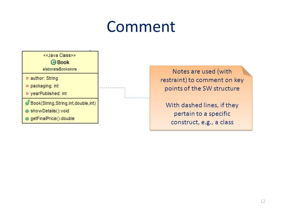 Comment Notes are used (with restraint) to comment on key points of the SW structure.