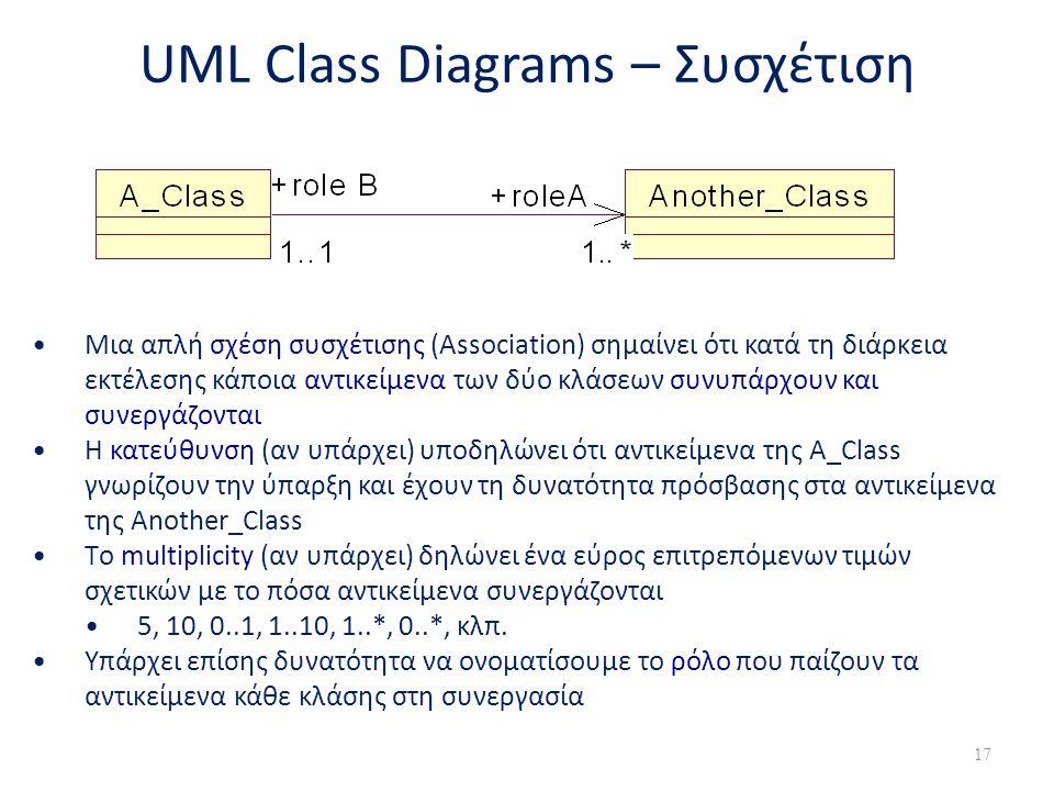 UML Class Diagrams – Συσχέτιση