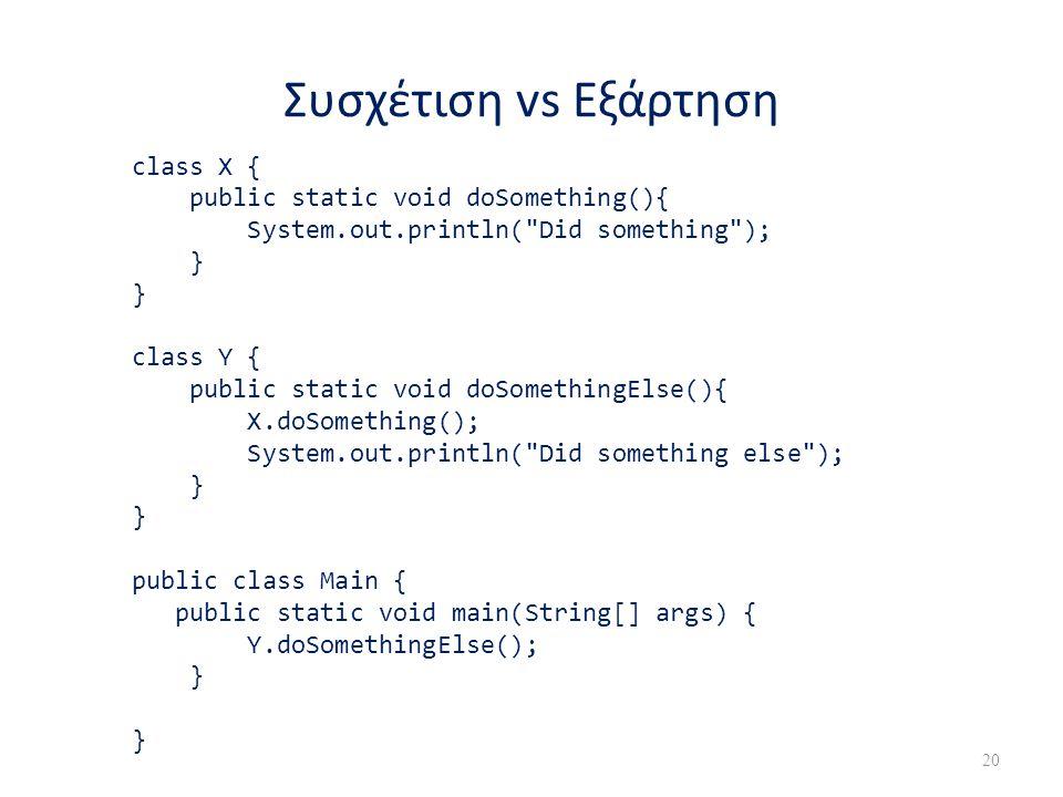 Συσχέτιση vs Εξάρτηση class X { public static void doSomething(){