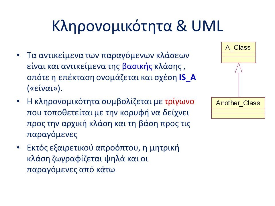Κληρονομικότητα & UML