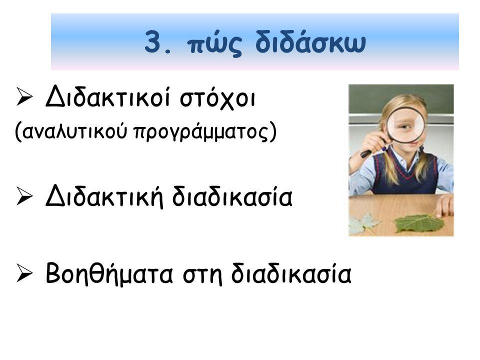 3. πώς διδάσκω Διδακτικοί στόχοι Διδακτική διαδικασία
