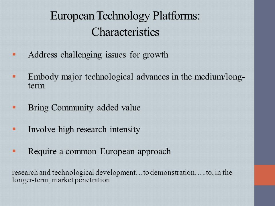 European Technology Platforms: Characteristics