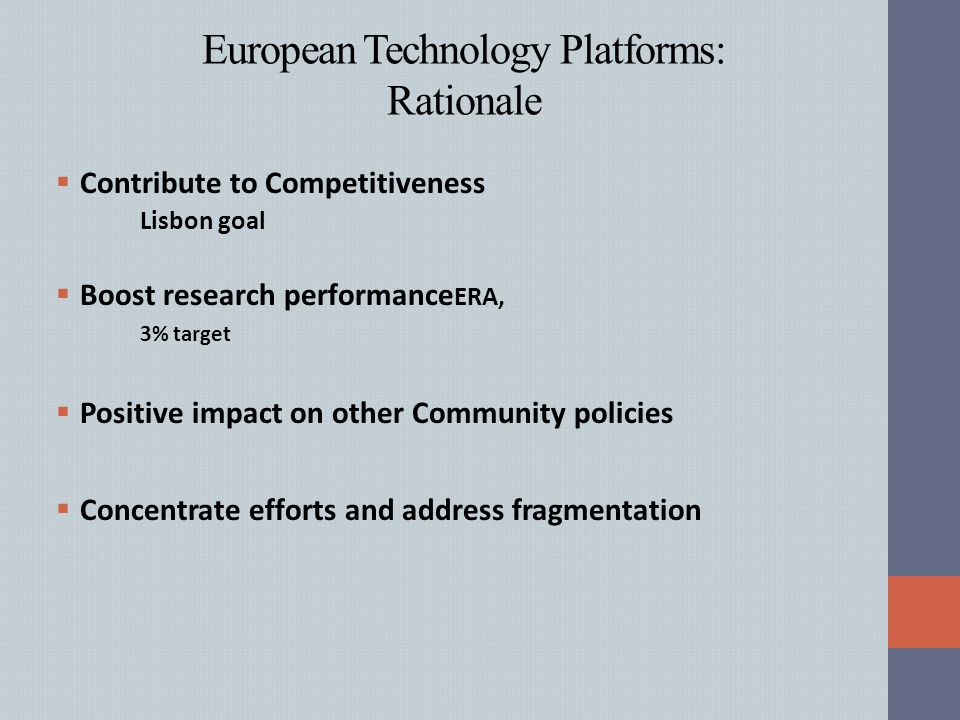 European Technology Platforms: Rationale