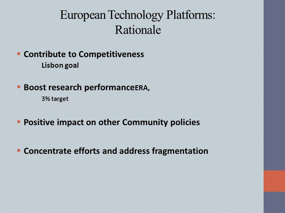 European Technology Platforms: Rationale