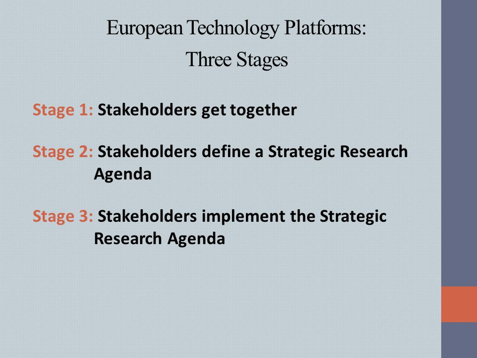 European Technology Platforms: Three Stages