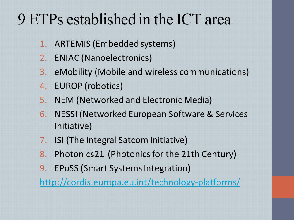9 ETPs established in the ICT area