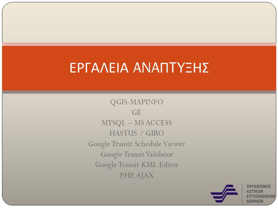 ΕΡΓΑΛΕΙΑ ANAΠTYΞΗΣ QGIS-MAPINFO GE MYSQL – MS ACCESS HASTUS / GIRO