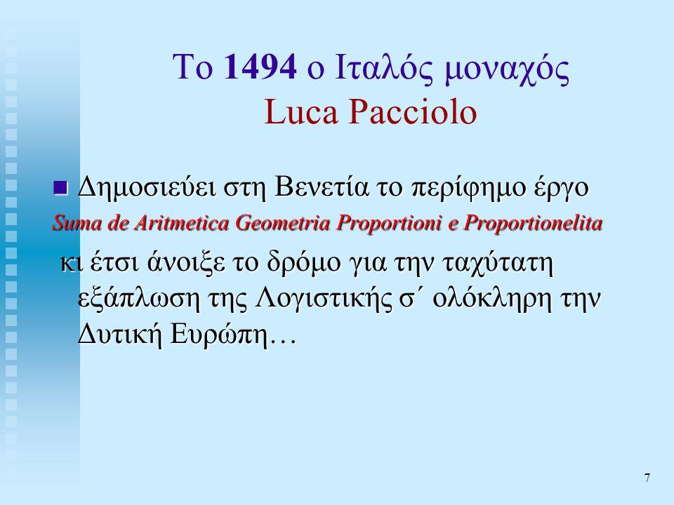 Το 1494 ο Ιταλός μοναχός Luca Pacciolo