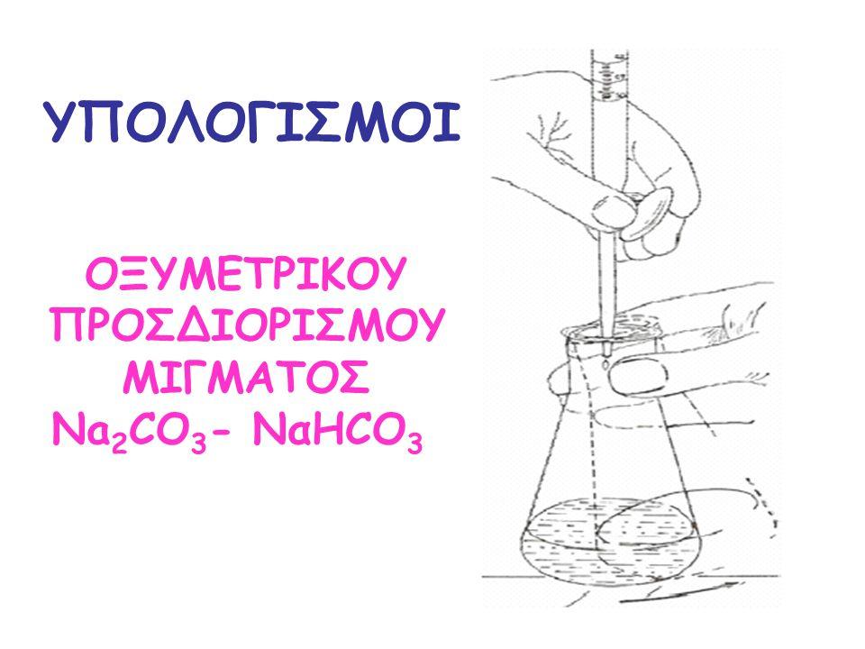 ΥΠΟΛΟΓΙΣΜΟΙ ΟΞΥΜΕΤΡΙΚΟΥ ΠΡΟΣΔΙΟΡΙΣΜΟΥ MIΓΜΑΤΟΣ Na2CO3- ΝαΗCO3