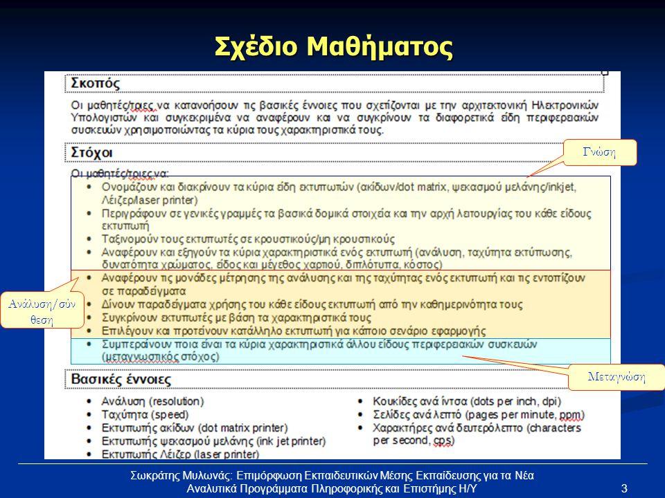 Σχέδιο Μαθήματος Γνώση Ανάλυση/σύνθεση Μεταγνώση