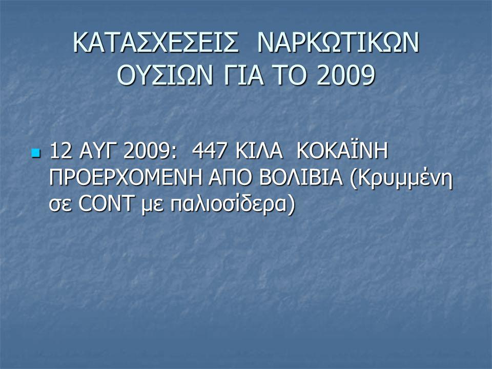 ΚΑΤΑΣΧΕΣΕΙΣ ΝΑΡΚΩΤΙΚΩΝ ΟΥΣΙΩΝ ΓΙΑ ΤΟ 2009