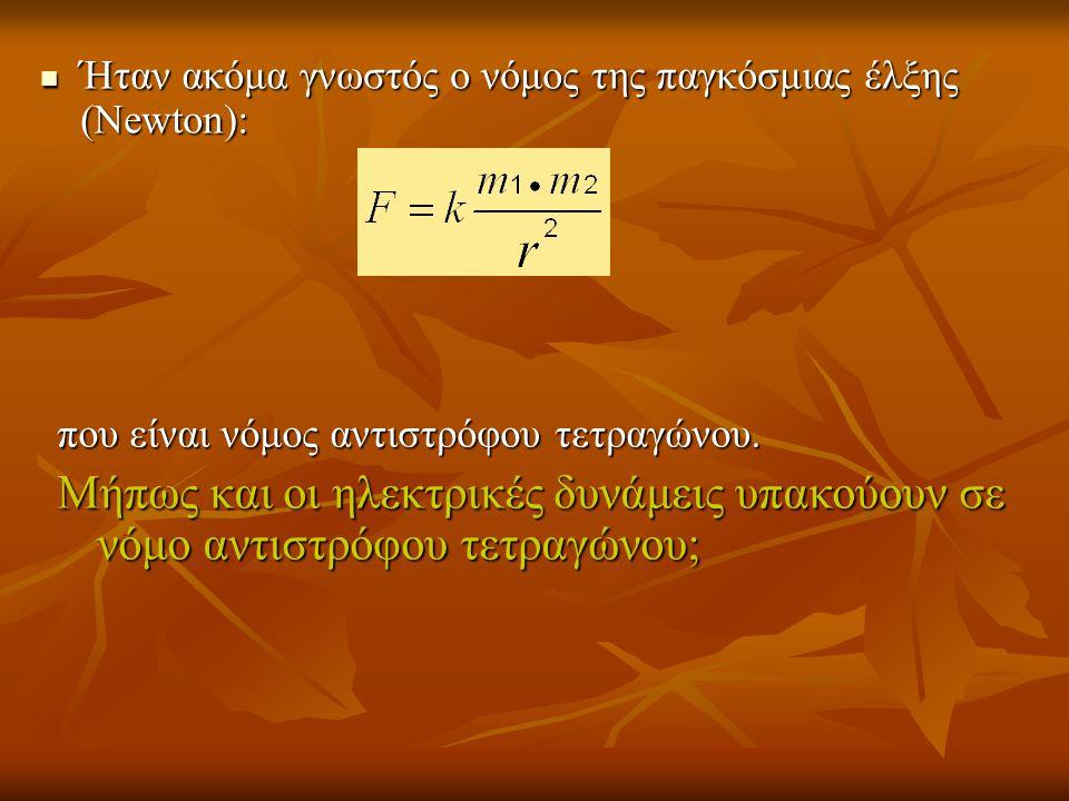 Ήταν ακόμα γνωστός ο νόμος της παγκόσμιας έλξης (Newton):