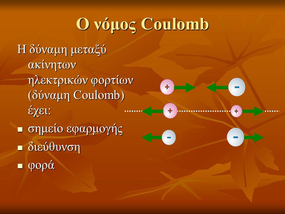 Ο νόμος Coulomb Η δύναμη μεταξύ ακίνητων ηλεκτρικών φορτίων (δύναμη Coulomb) έχει: σημείο εφαρμογής.
