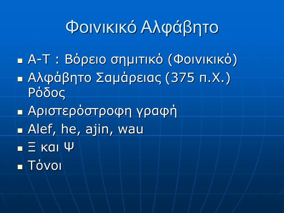 Φοινικικό Αλφάβητο Α-Τ : Βόρειο σημιτικό (Φοινικικό)