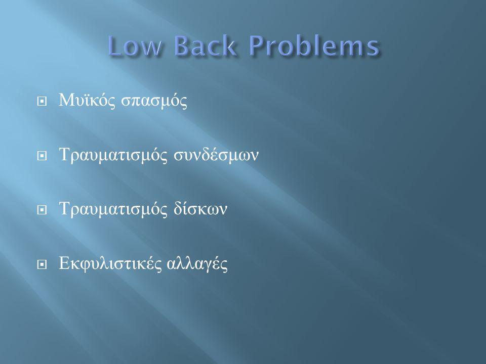 Low Back Problems Μυϊκός σπασμός Τραυματισμός συνδέσμων