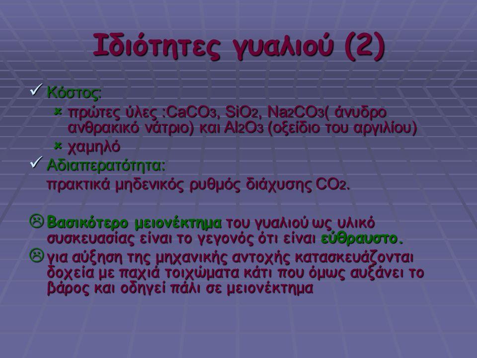 Ιδιότητες γυαλιού (2) Κόστος: