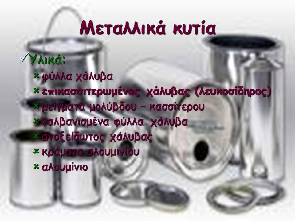 Μεταλλικά κυτία Υλικά: φύλλα χάλυβα