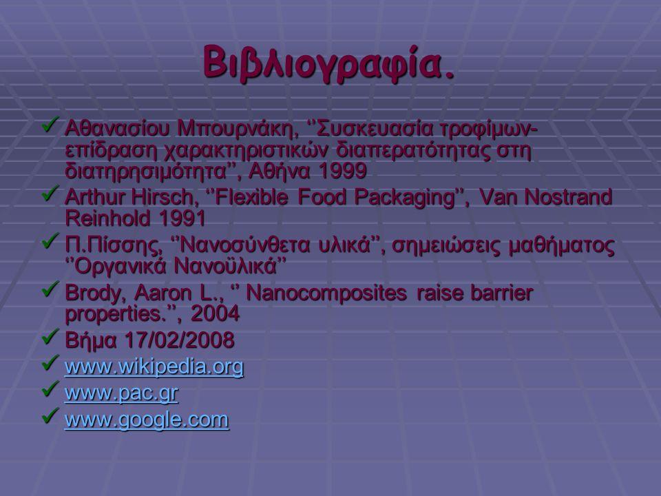 Βιβλιογραφία. Αθανασίου Μπουρνάκη, ''Συσκευασία τροφίμων- επίδραση χαρακτηριστικών διαπερατότητας στη διατηρησιμότητα'', Αθήνα 1999.