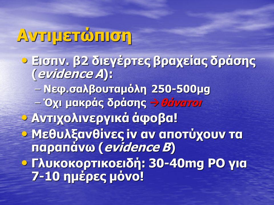 Αντιμετώπιση Εισπν. β2 διεγέρτες βραχείας δράσης (evidence A):