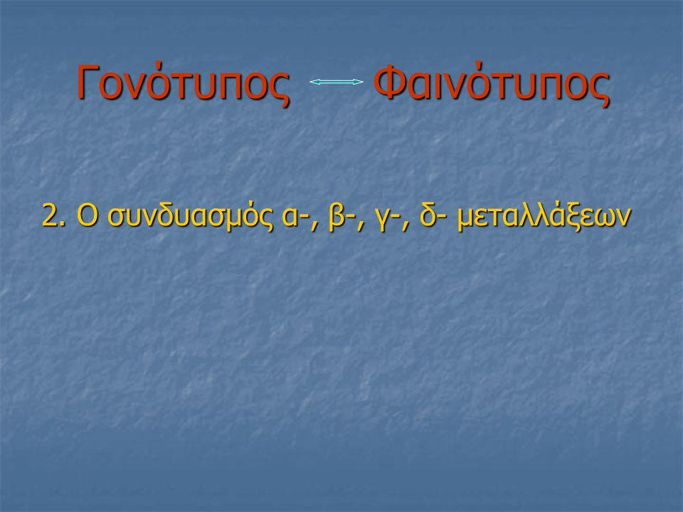 Γονότυπος Φαινότυπος 2. Ο συνδυασμός α-, β-, γ-, δ- μεταλλάξεων
