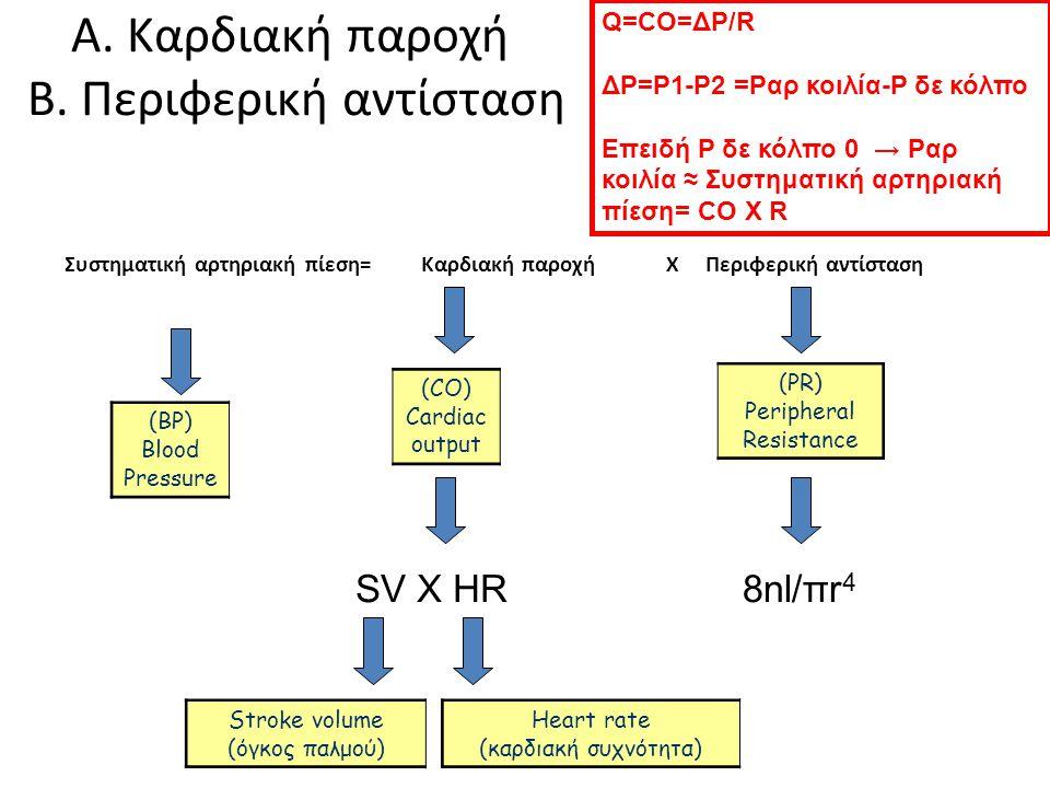 Α. Καρδιακή παροχή Β. Περιφερική αντίσταση