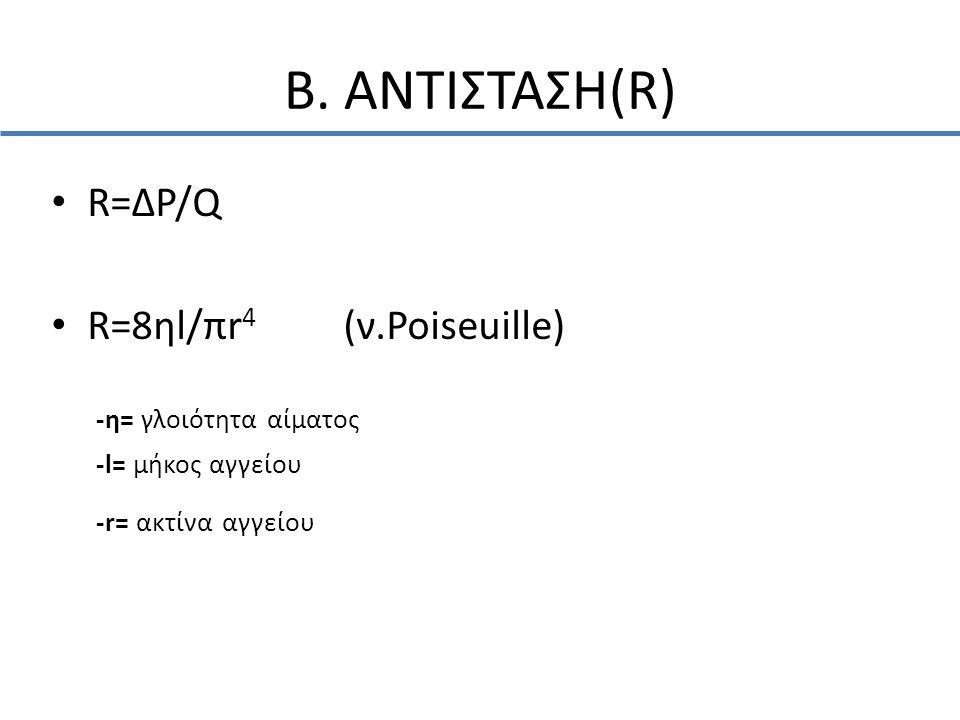 Β. ΑΝΤΙΣΤΑΣΗ(R) R=ΔP/Q R=8ηl/πr4 (ν.Poiseuille) -η= γλοιότητα αίματος