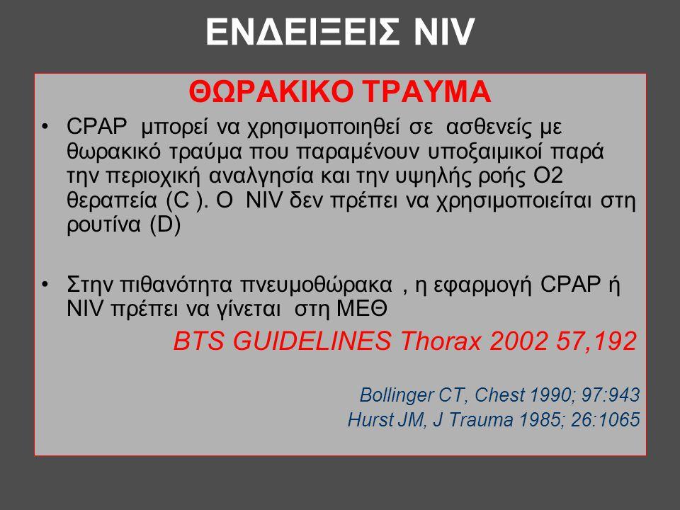 ΕΝΔΕΙΞΕΙΣ NIV ΘΩΡΑΚΙΚΟ ΤΡΑΥΜΑ BTS GUIDELINES Thorax 2002 57,192