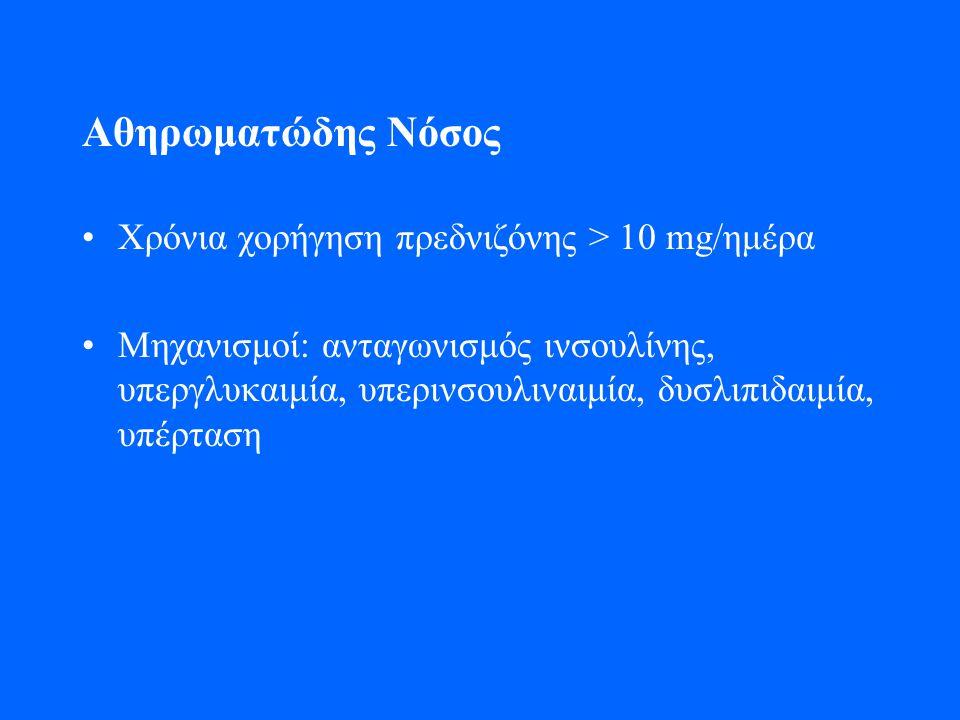 Αθηρωματώδης Νόσος Χρόνια χορήγηση πρεδνιζόνης > 10 mg/ημέρα