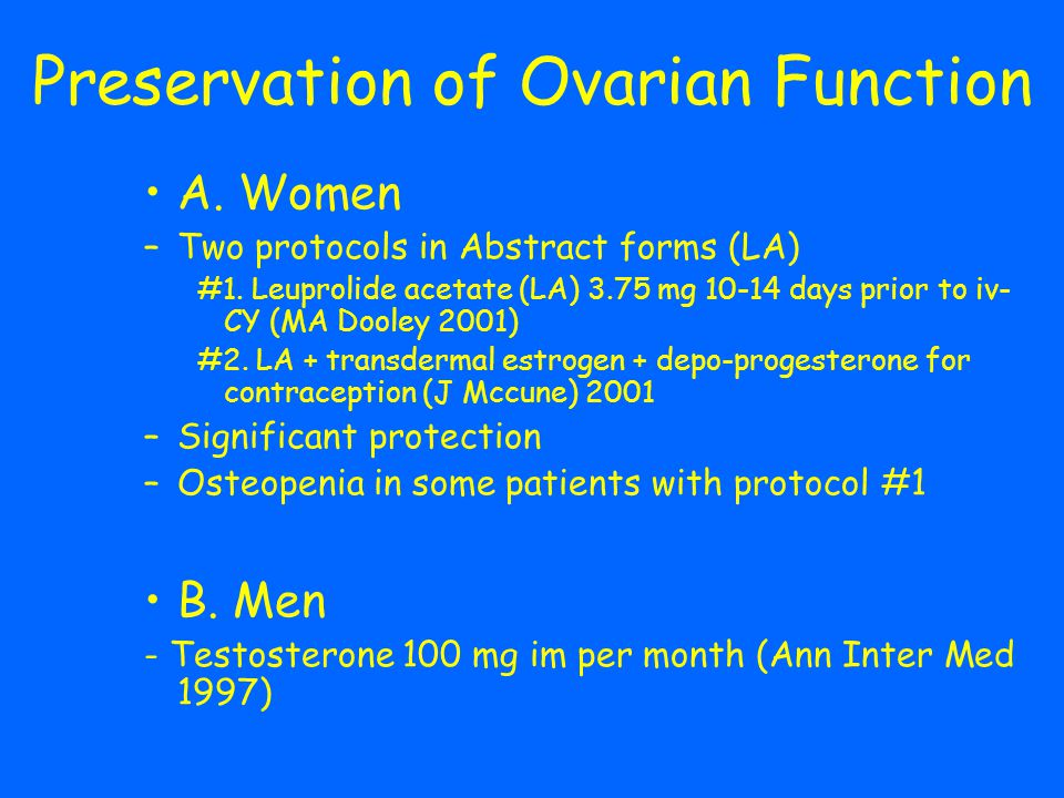 Preservation of Ovarian Function
