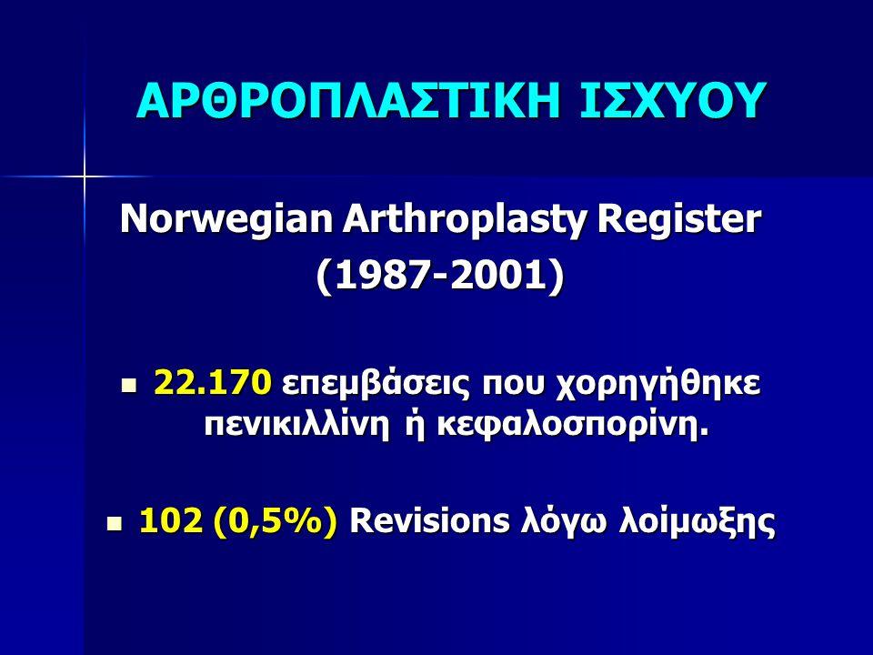 ΑΡΘΡΟΠΛΑΣΤΙΚΗ ΙΣΧΥΟΥ Norwegian Arthroplasty Register (1987-2001)