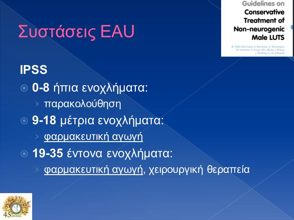 Συστάσεις EAU IPSS 0-8 ήπια ενοχλήματα: 9-18 μέτρια ενοχλήματα: