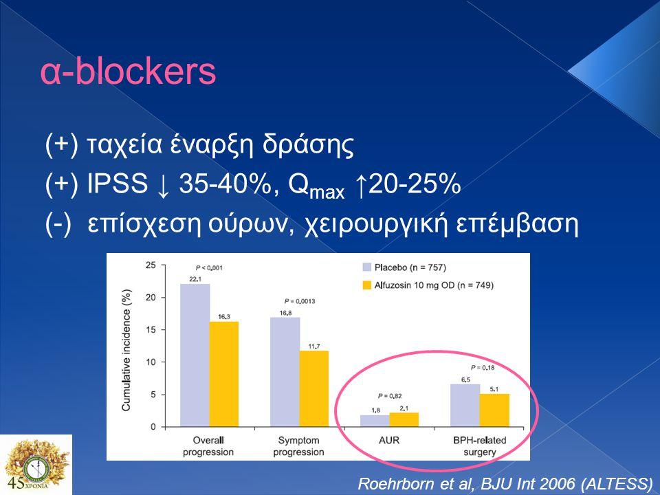 α-blockers (+) ταχεία έναρξη δράσης (+) IPSS ↓ 35-40%, Qmax ↑20-25%